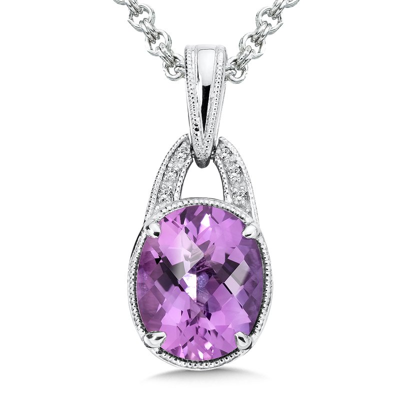 Colore Sg Sterling Silver Amethyst White Diamond Pendant