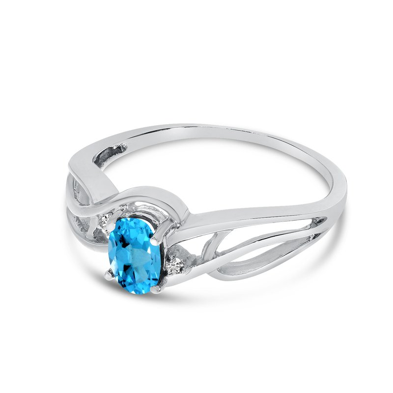 Color Merchants 10k White Gold Oval Blue Topaz And Diamond Curve Ring