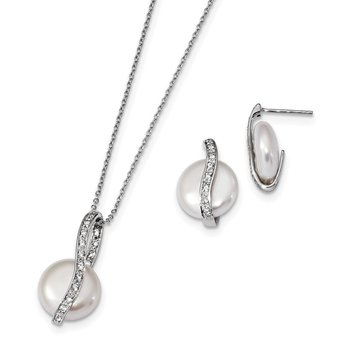 Sterling Silver Rhod-plated 13-14mm Coin FWC Pearl CZ Earring/Necklace Set