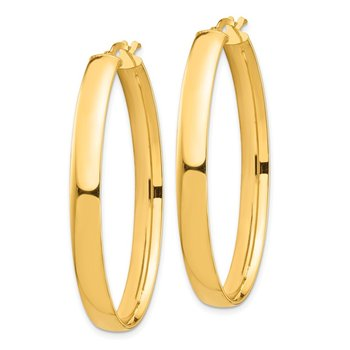 14k High Polished 5mm Oval Hoop Earrings