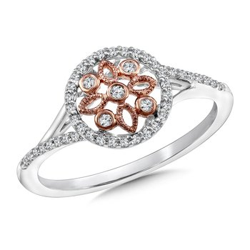 Diamond Ring in 14K White/Rose Gold (.16 ct. tw.)