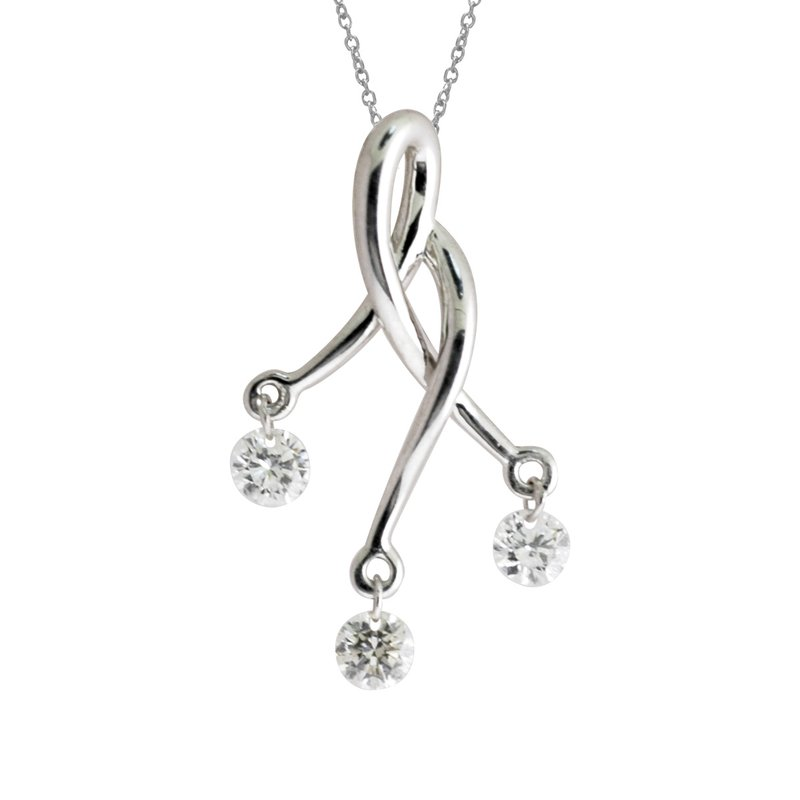 Color Merchants 14K White Gold Dashing Diamonds Pendant