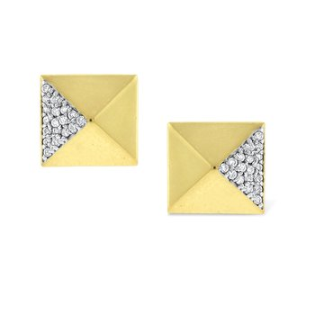 Diamond Pyramid Earrings in 14K Yellow Gold with 36 Diamonds Weighing  .18ct tw