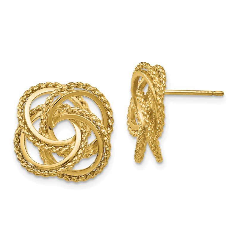 Quality Gold 14k Polished & Twisted Love Knot Post Earrings