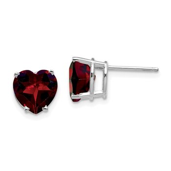 14k White Gold 8mm Heart Garnet earring