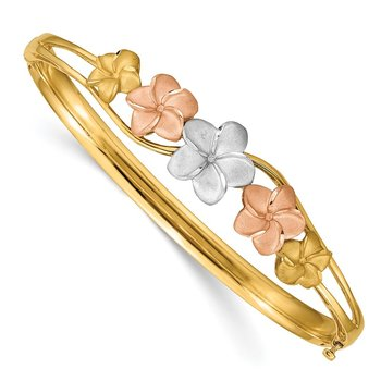 14k Tri-color Plumeria Hinged Bangle
