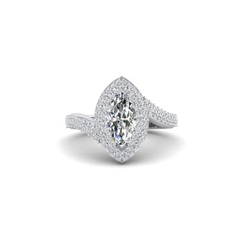 OMG Series Double Halo Marquise Shaped Engagement Ring