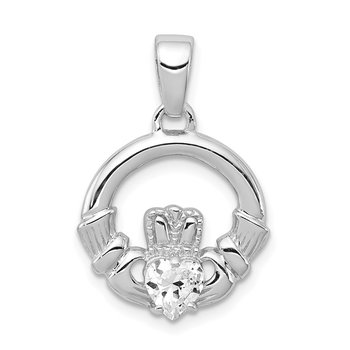 Sterling Silver Rhodium Plated CZ Claddagh Pendant