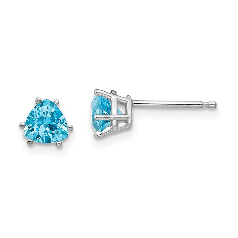 Quality Gold 14k White Gold 5mm Trillion Blue Topaz Earrings