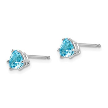 14k White Gold 5mm Trillion Blue Topaz Earrings