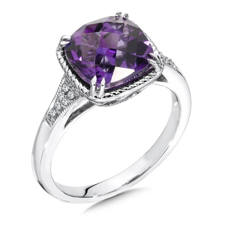 Colore Oro Amethyst and Diamond Ring in 14K White Gold