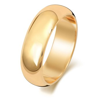 9Ct Yellow Gold 6mm D Shape Wedding Ring