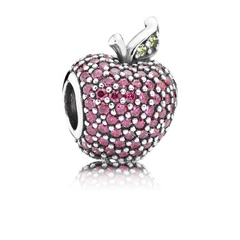Red Pavé Apple Charm, Fancy Red CZ & Green Crystal
