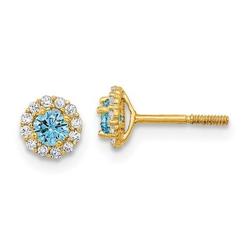 14k Madi K Polished Blue and Clear CZ Post Earrings