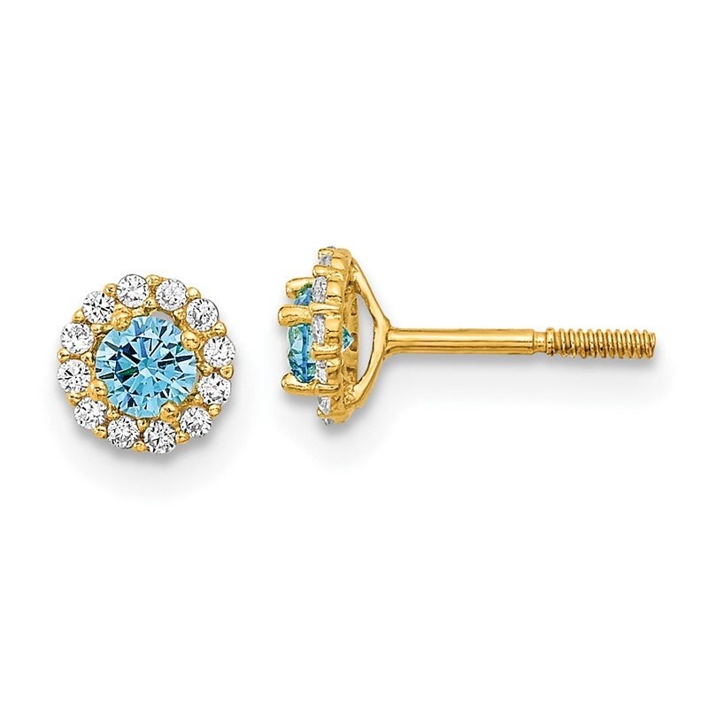 Quality Gold 14k Madi K Polished Blue and Clear CZ Post Earrings