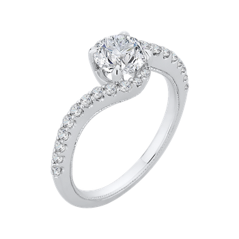 18K White Gold Round Diamond Promise Engagement Ring (Semi-Mount)