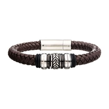 Brown Genuine Leather with Steel & Black Plated Beads Brushed Steel Bracelet