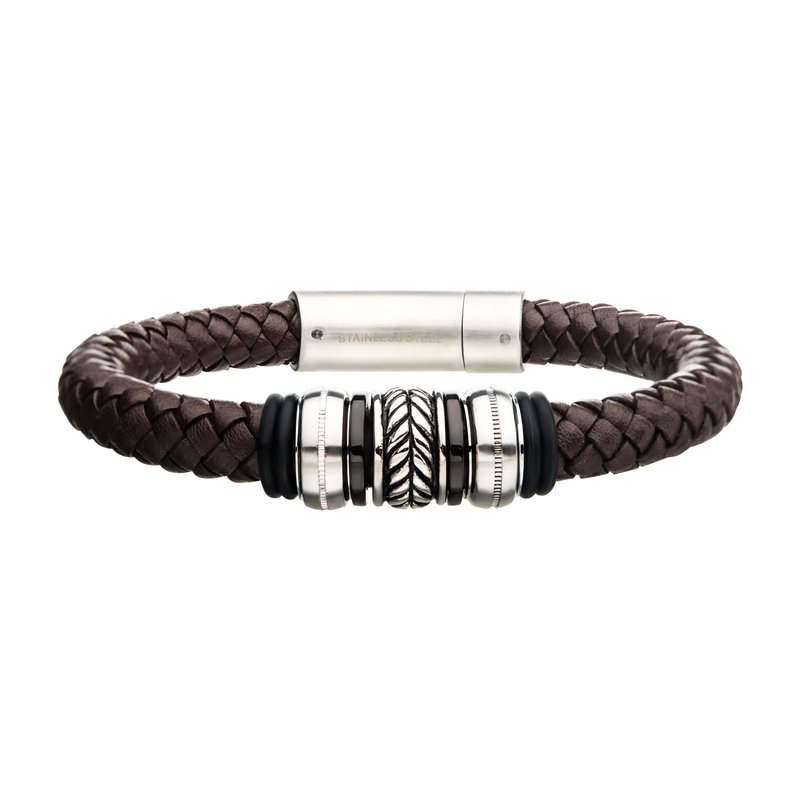 INOX Men's Jewelry Brown Genuine Leather with Steel & Black Plated Beads Brushed Steel Bracelet