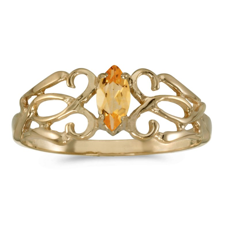 Color Merchants 14k Yellow Gold Marquise Citrine Filagree Ring