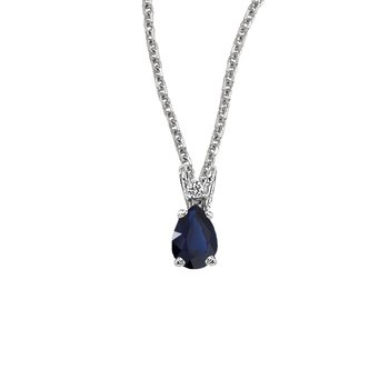 14K White Gold Pear Shaped Sapphire & Diamond Pendant