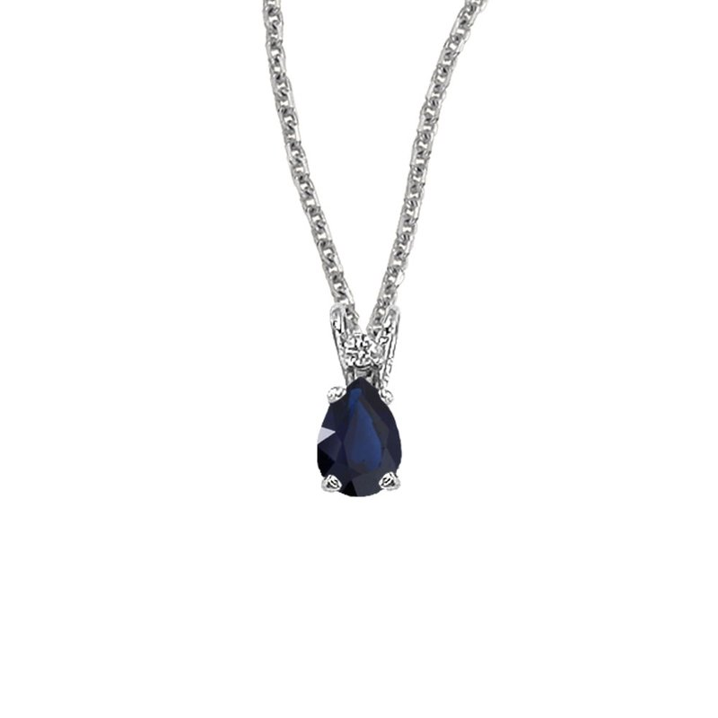 Color Merchants 14K White Gold Pear Shaped Sapphire & Diamond Pendant