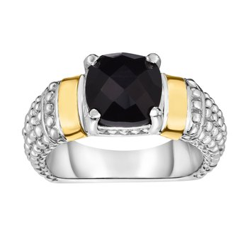 Silver & 18K Cushion Black Onyx Popcorn Ring