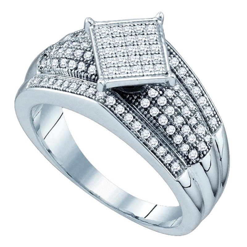 Gold-N-Diamonds, Inc. (Atlanta) 10kt White Gold Womens Round Diamond Elevated Square Cluster Ring 1/3 Cttw