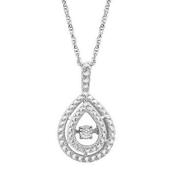 SILVER 0.01CTW OVAL DBL HALO HEARTBEAT WITH MP PENDANT