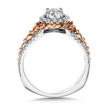 Halo Engagement Ring Mounting in 14K White/Rose Gold (.30 ct. tw.)
