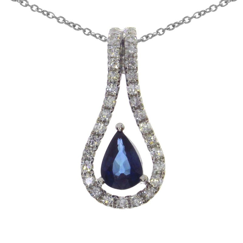 Color Merchants 14k White Gold Sapphire Pear Pendant