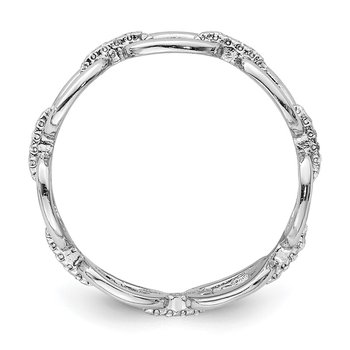 Sterling Silver Rhodium-plated CZ Bars & Oval Links Band