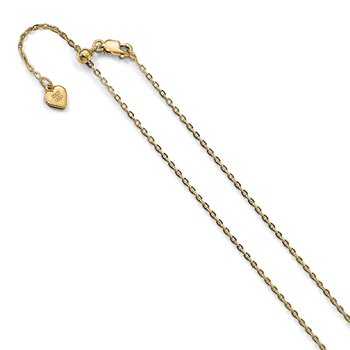 Leslie's Sterling Silver 1.4 mm Gold-plated 22in Adjustable Cable Chain