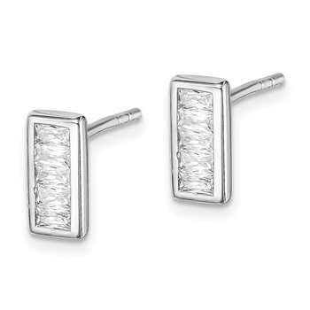 Sterling Silver Rhodium Plated Emerald-cut CZ Post Earrings