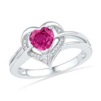 10kt White Gold Womens Round Lab-Created Pink Sapphire Heart Ring 1.00 Cttw