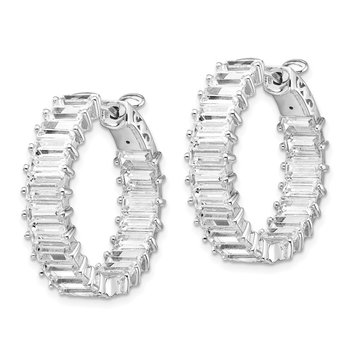 Sterling Silver CZ Hinged Hoop In/Out Earrings