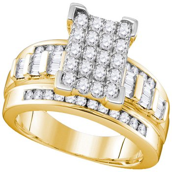 10kt Yellow Gold Womens Round Diamond Cinderella Cluster Bridal Wedding Engagement Ring 1.00 Cttw