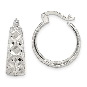 Sterling Silver Open Diamond Cut Hoop Earrings