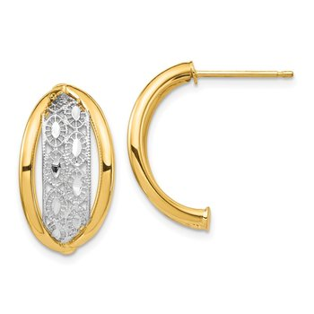 14k & Rhodium Polished & Diamond Cut Post Earrings