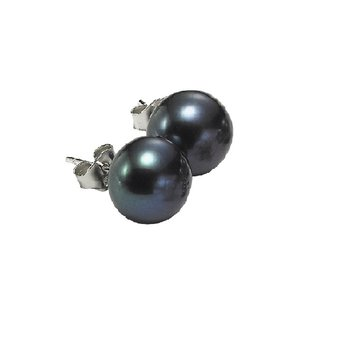 Silver Fresh Water Black Pearl Studs 5 1/2 mm
