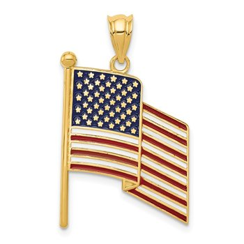 14k Enameled Flag Pendant