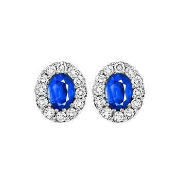 14K White Gold Color Ensembles Halo Prong Sapphire Earrings 1/4CT