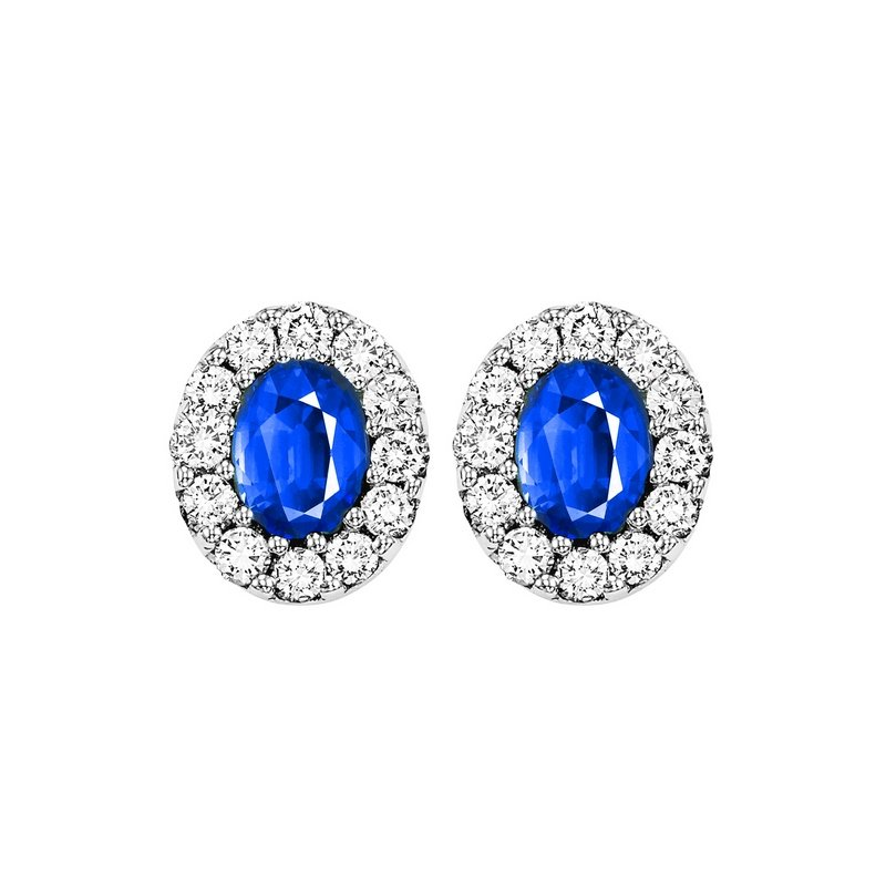 Gems One 14K White Gold Color Ensembles Halo Prong Sapphire Earrings 1/4CT