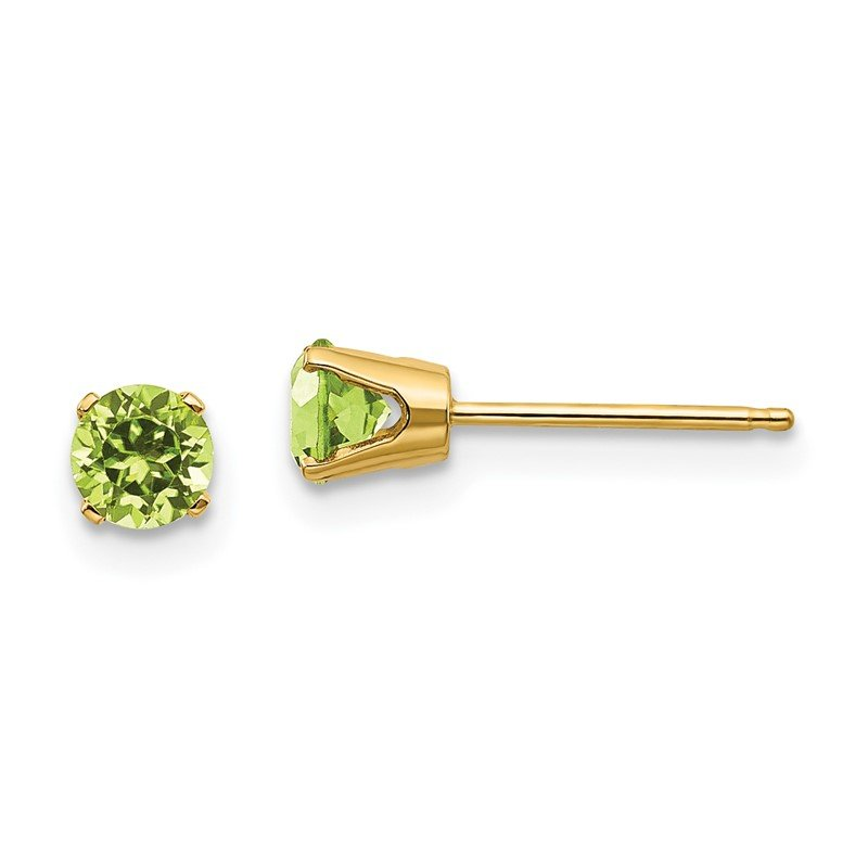 Quality Gold 14k 4mm August/Peridot Post Earrings