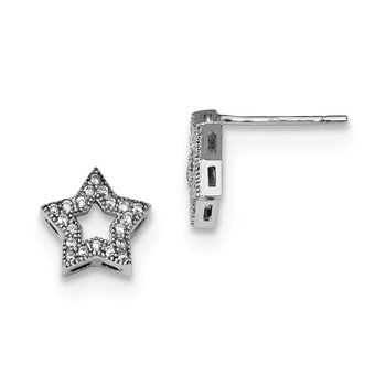 Sterling Silver & CZ Brilliant Embers Star Post Earrings