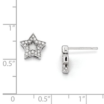 SS Rhodium-Plated CZ Brilliant Embers Star Post Earrings