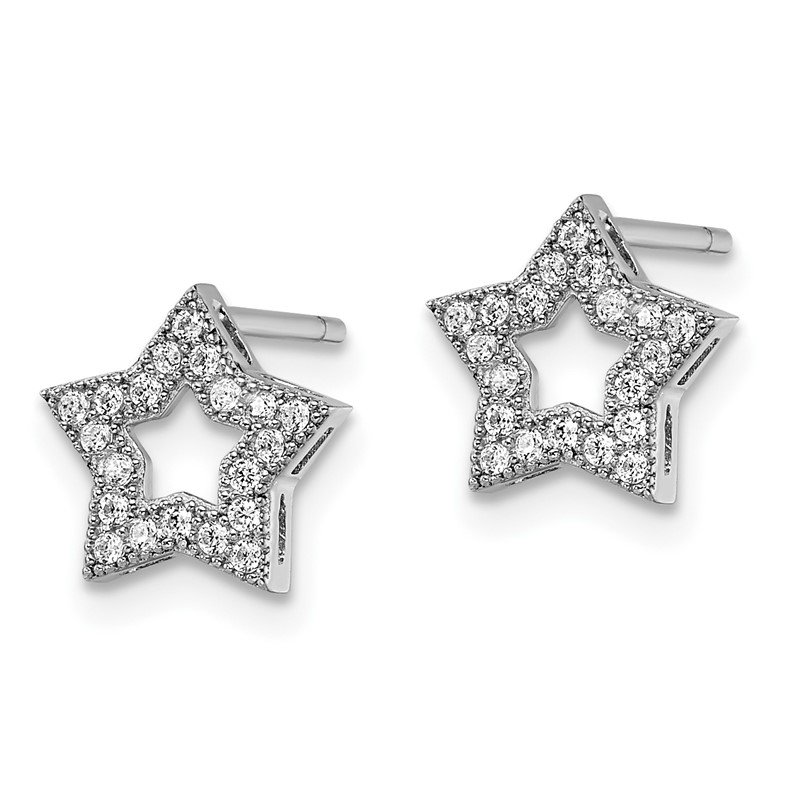 Quality Gold SS Rhodium-Plated CZ Brilliant Embers Star Post Earrings