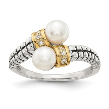 Sterling Silver w/14k FW Cultured Pearl & Diamond By-Pass Ring