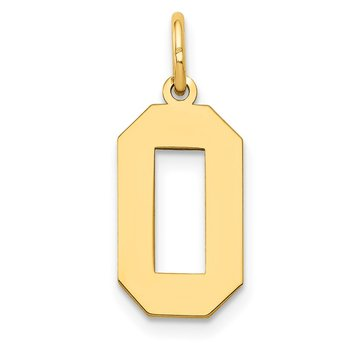 14k Medium Polished Number 0 Charm