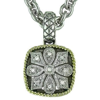 18kt and Sterling Silver Cushion Antique Flower Diamond Pendant with Chain