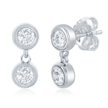 White Gold Two Stone Earring